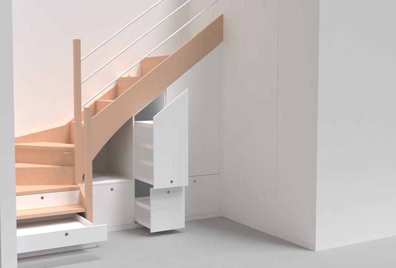 aménagement, sur mesure, lyon, meuble, escalier, bois, massif, tassin